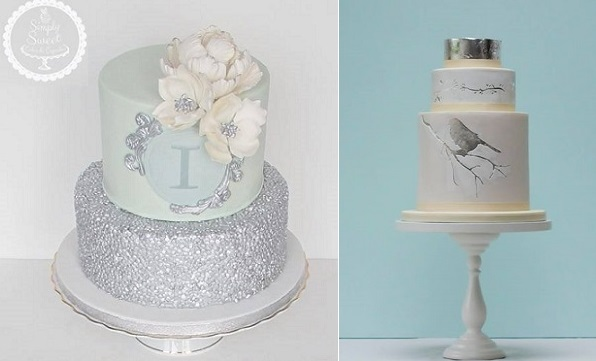 silver sequins cake by Simply-Sweet-Cakes-Cupcakes-left-silver leaf bird on a branch winter cake by Rosalind Miller