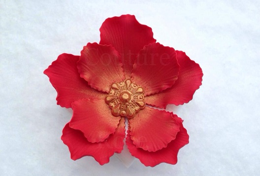 stylized red gumpaste sugar flower by Couture Cakes by Roses Etsy shop