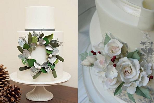 winter foliage and sugar flowers wedding cakes by Miso Bakes, Syliva G Photography left, Sugar Penguin Cakery right