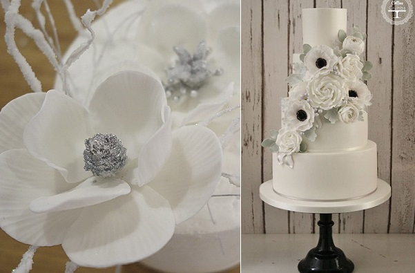 winter wedding cake by Cotton and Crumbs right, winter sugar flowers by The Caketress left