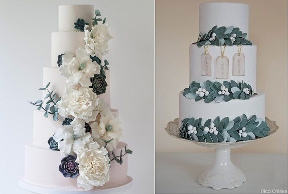 winter wedding cakes with grey green foliage by Arianna Lauren left, Erica O'Brien right