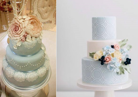 blue wedding cakes with lace by The Cake That Ate Paris right, image left via Pinterest uncredited