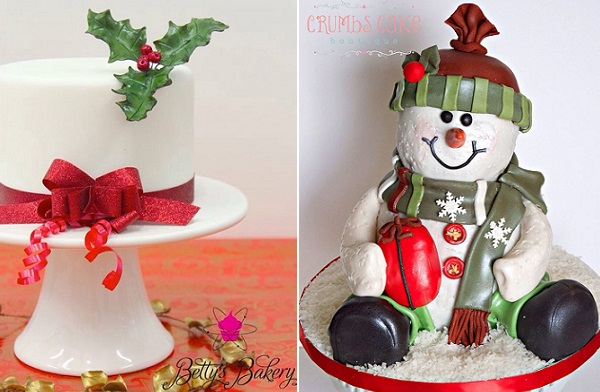 christmas cakes by Betty's Bakery Molecular Sensations left, Crumbs Cake Boutique right