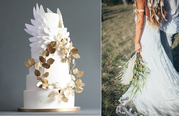 angel wings wedding cake by Victoria Watkin Jones left, boho bride with feather styling image by Reego Photography via One Fab Day
