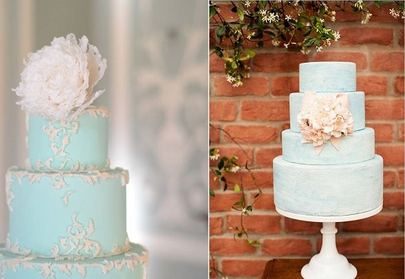beach wedding cakes by T Bakes left, Layered Bakeshop (Jeremy and Kristin Photography) right