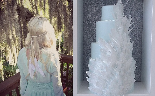 boho bride with feather head dress image via Diesel Boutique on Etsy, angel wing wedding cake by The Caketress right