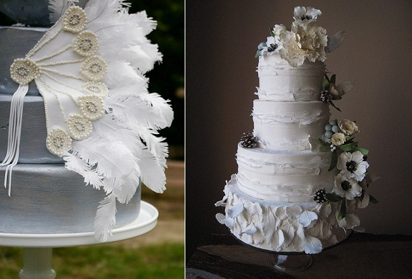 boho style wedding cakes with feathers by Nadya's Cakes &  Bakes left, Megan Joy Cakes right