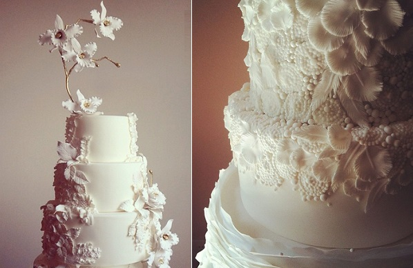 boho wedding cake with feathers and beading right by Megan Joy Cakes, cake left by The White Cakery