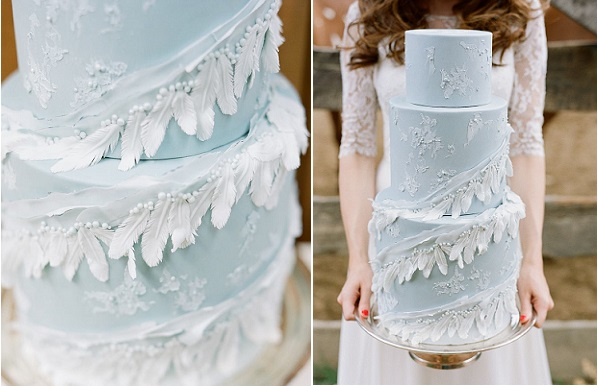 boho wedding cake with feathers by Megan Joy, Connie Whitlock Photography