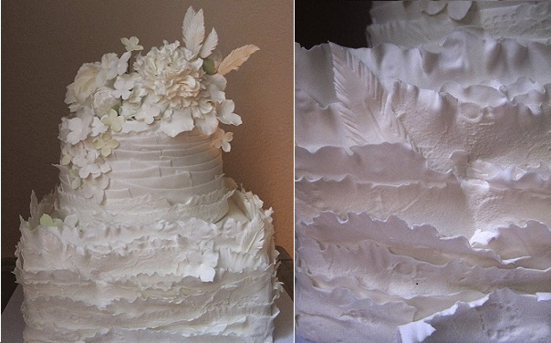 boho wedding cake with ruffles and feathers by Megan Joy Cakes