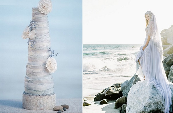 coastal wedding cake by The White Cakery, Krista Fox Photography left, Elizabeth McKenzie gown Luna de Mare Photography