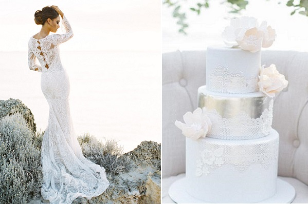 coastal wedding cake with lace by De La Rosa Cupcakes, Inbal Dror gown image by Feather & Stone Photography