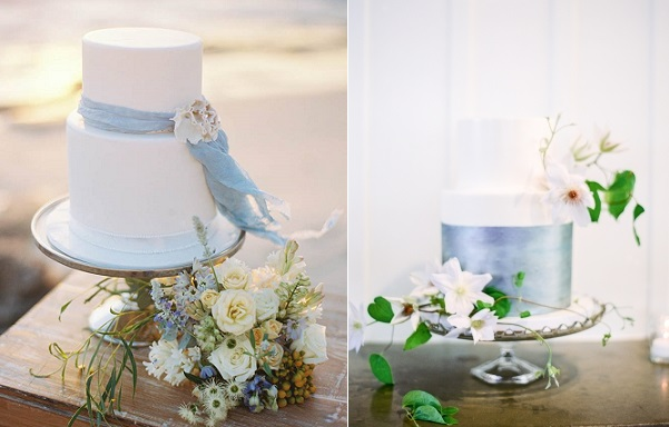 coastal wedding cakes by De La Rosa Cupcakes, Katie Grant Photography left, cake by Fleur de Lisa, Coco Tran Photography via Style Me Pretty