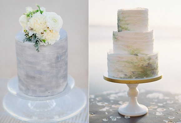 coastal wedding cakes by JuJu's Organic Delights, Adam Ward Photography left, Knead to Bake, Brett Heidebrecht Photography right