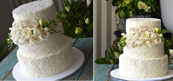 coconut wedding cake by All Things Sweet by Carissa