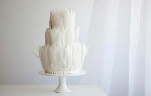 feather wedding cake by The Cake That Ate Paris