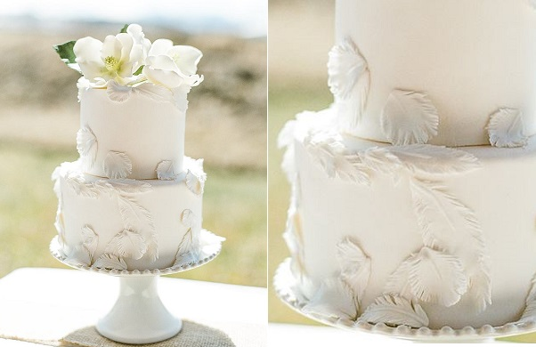 feather wedding cake for boho bride by Megan Joy Cakes, Cara Leonard Photography