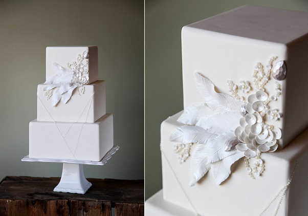 feather wedding cake with beading by Rachael Teufel for Craftsy