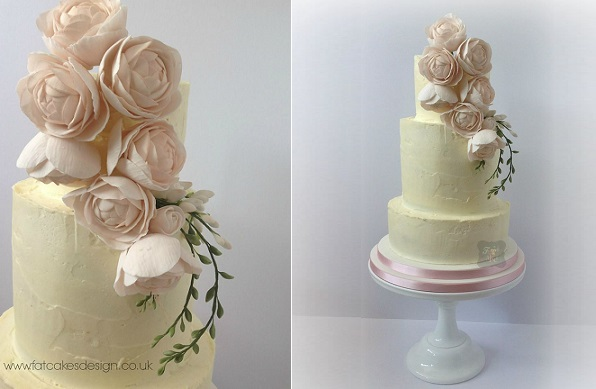 freesia and peonies wedding cake by Fat Cakes Design UK