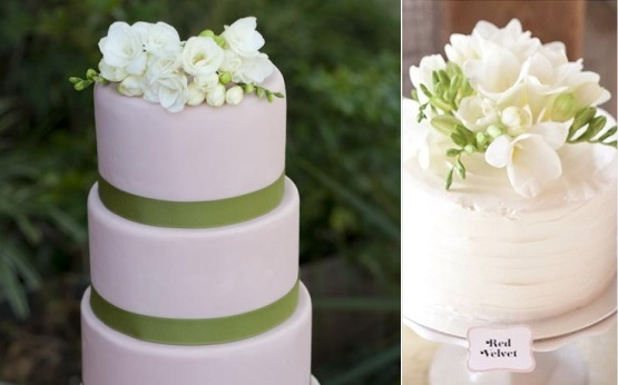 freesia wedding cake by Erica O'Brien left, Bobbette and Belle right