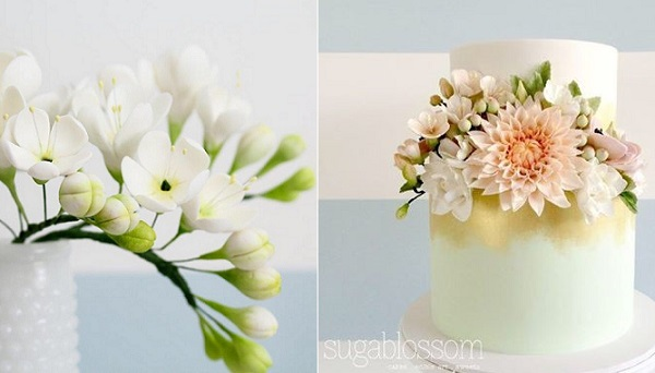 freesia wedding cake by Sugablossom Cakes