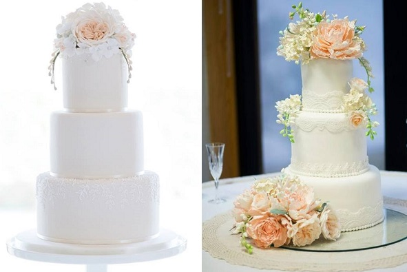 freesia wedding cakes by Curtis and Co. Cakes left, image by Weddings by Nicola & Glenn, by Alex Narramore right