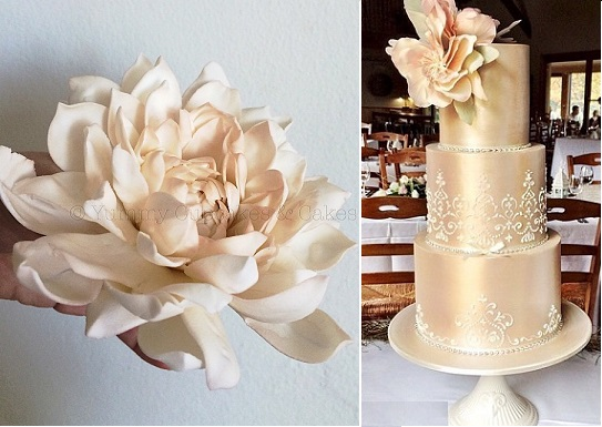 gumpaste dahila and wedding cake by Yummy Cupcakes and Cakes
