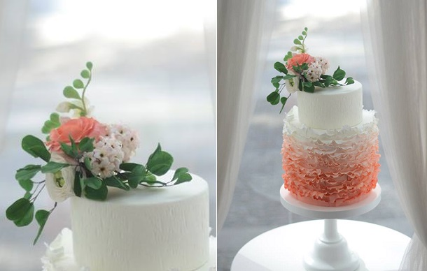 peach wedding cake with freesia by T Bakes