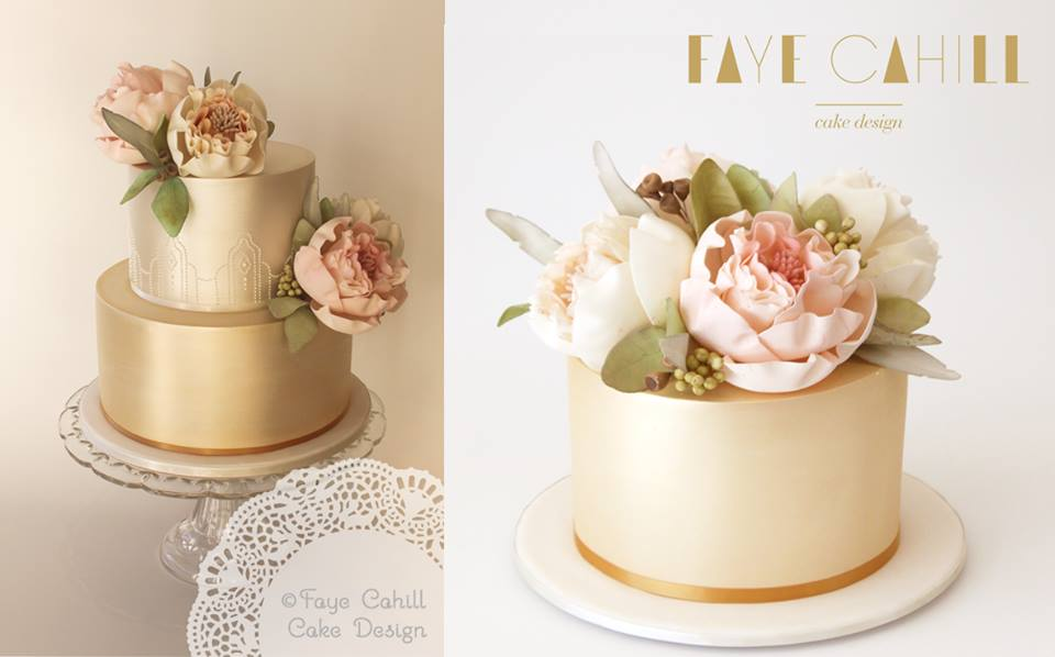watercolour peonies by Faye Cahill Cake Design