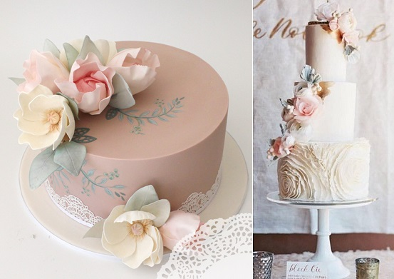 watercolour poppies and roses left by Faye Cahill, cake right by Hey There Cupcake via Green Wedding Shoes, Ashley Keleman Phot.