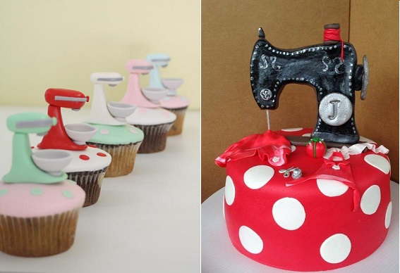 Cake Mixer cupcakes by The Cupcake Lady inspired by Cakes by Lorinda left, sewing machine cake by  Dulces Bocadosporkarlap
