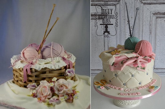Knitting cakes for crafters by Eat Cake Party left, Truly Scrumptious Cakes right