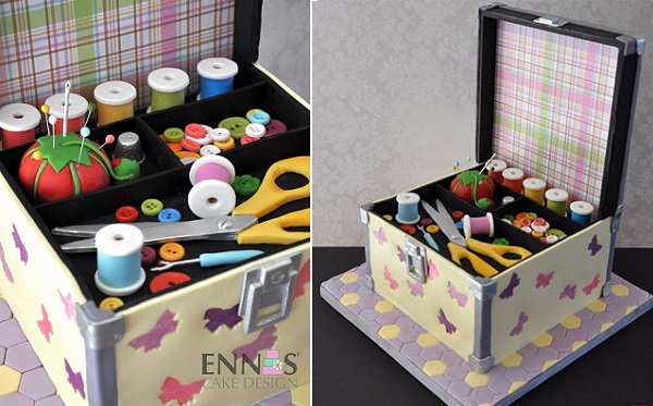 Sewing box birthday cake by Enna's Cake Design