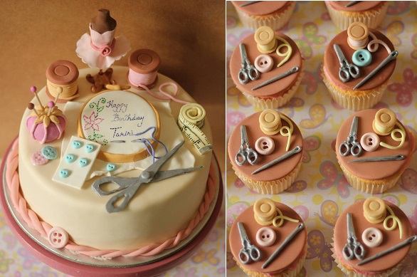 Sewing cake for dressmaker or crafter's birthday by New Dehli Cake Co.