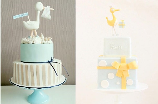 Stork baby shower cakes by Astrids Bakkerij left, Hello Naomi right