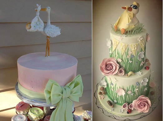 Stork baby shower cakes by Slice Couture Cake Design, left and Katie's Cake Box, Norwich right.