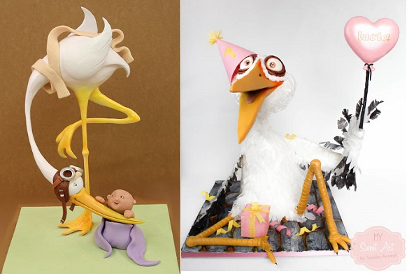 Stork cakes by Mike's Amazing Cakes left, My Sweet Art by Sandra Amaral right
