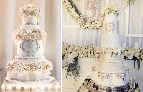 floral and formal wedding cakes with petal shaped tiers by Bobbette and Belle left, Faye Cahill right