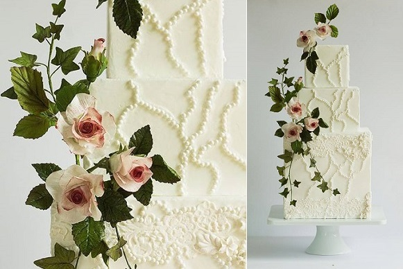 formal wedding cake with sugar flowers and foliage by Lina Veber Cake