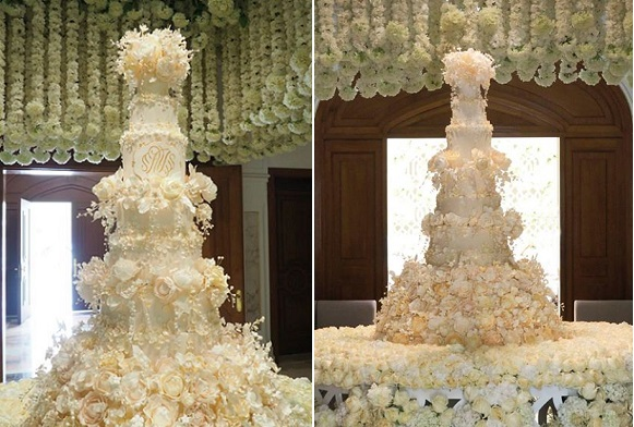 formal wedding cake with sugar flowers by Rosalind Miller Cake Design