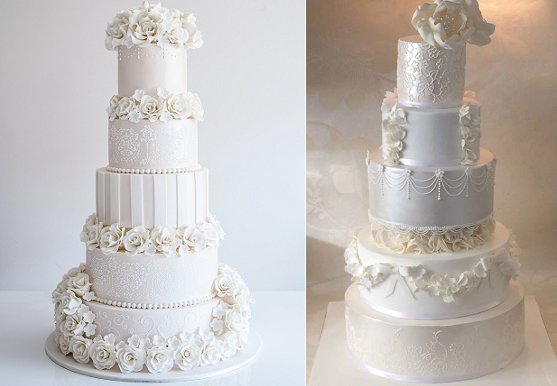 formal wedding cakes by Coco Cakes left, Sugar Plum Cakes right
