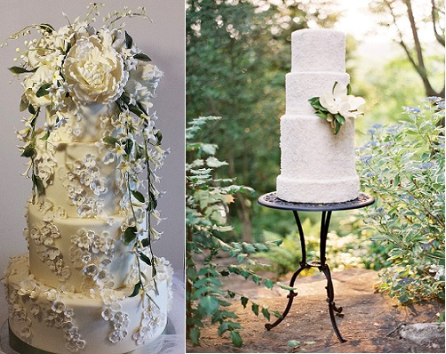 formal wedding cakes with floral decor by Madeleine Cakes left, Sun in My Belly Cakes, right (Jose Villa Phot)