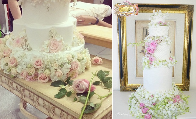 towering wedding cakes with flowers by Peggy Porschen left, by Innicka Dee Cakes right