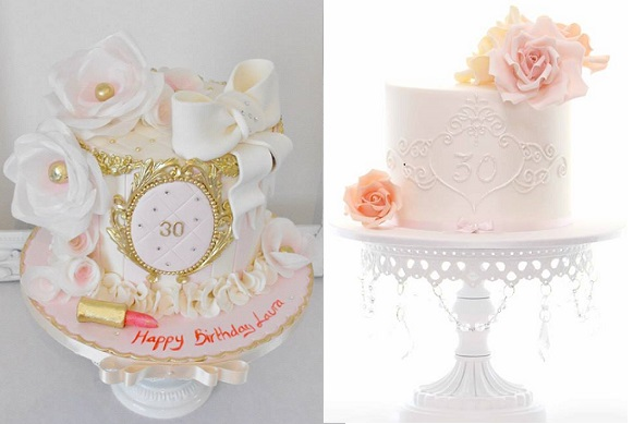 30th birthday cakes by Dee's Sweet Surprises left, Sweet Love Couture Cake right