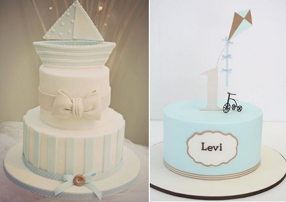 Cakes for little boys sailboat cake by Katie's Cupcakes left, kite cake and tricyle by Janet O'Sullivan Cakes right