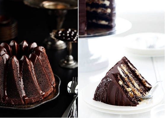 Decadent chocolate cakes by Sweetapolita, Chocolate Espresso Bundt Cake,left Sweet and Salty Millionaire's Layer Cake, right