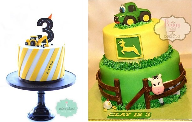 Digger cake by Bake-A-Boo, NZ and tractor cake by Peggy Does Cake