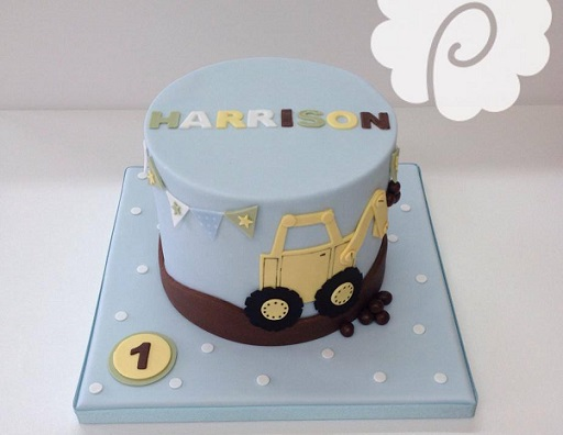 Digger cake for little boy's birthday cake by Poppy Pickering