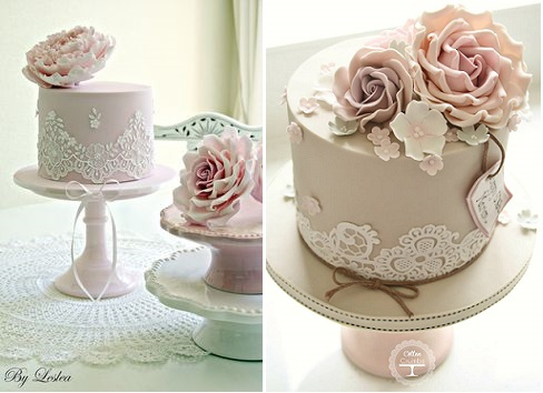 Edible lace cakes by Leslea Matsis left, Cotton and Crumbs right