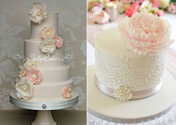 Edible lace trimmed cakes by Jelly Cake left, Hilary Rose Cupcakes right